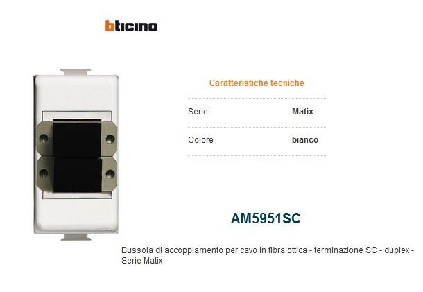 BUSSOLA ACCOPPIAMENTO SC DUPLEX PER FIBRA OTTICA BTICINO MATIX AM5951SC BIANCO