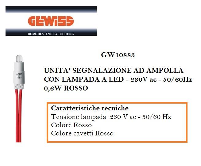 UNITA/' SEGNALAZIONE LED ROSSO 230V AC GEWISS GW10883